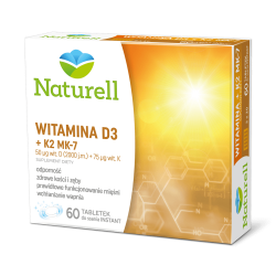 Witamina D3 + K2 MK-7 - 60 tabl. do ssania NATURELL waznosc 1.10.2020